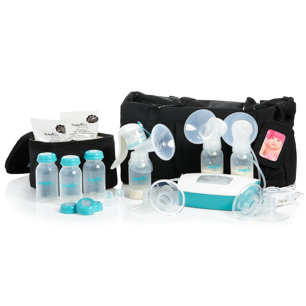 Evenflo Feeding Hospital Strength Deluxe Plus Advanced Breast Feeding Closed System Double Electric Pump with 32 Settings - Additional Accessories Included and Manual Hand Pump Included
