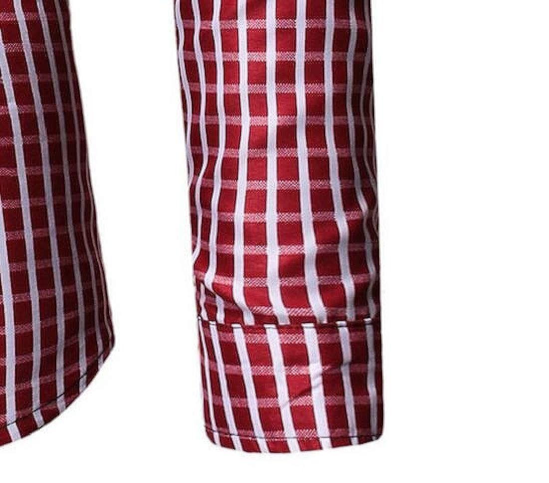 ARTFFEL Mens Formal Checkered Long Sleeve Button Up Regular Fit Dress Work Shirt