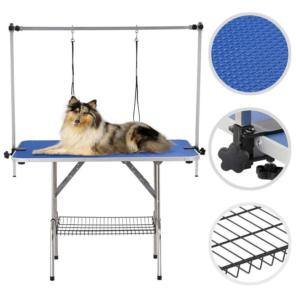 Yaheetech Pet Grooming Table for Large Dogs Adjustable Height - Portable Trimming Table Drying Table w/Arm/Noose/Mesh Tray Maximum Capacity Up to 331Lb Blue 47in x 24in by Yaheetech