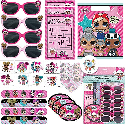 LOL Surprise Birthday Party Favor Pack For 8 Guests With Goodie Bags, Slap Bracelets, Tattoos, LOL Sun Glasses, Activity Sheets, MINI Notepad,Stickers, Maze Sheets, and Exclusive Pin by Another ()