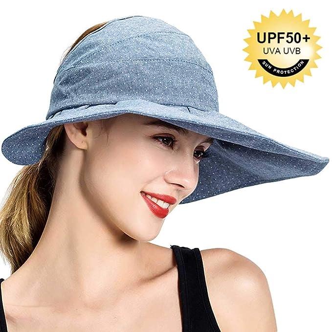 ba0ac5948d2e5 Packable Sun Hat Foldable Sun Visor Hats for Women Wide Brim Roll Up  Ponytail Summer UV