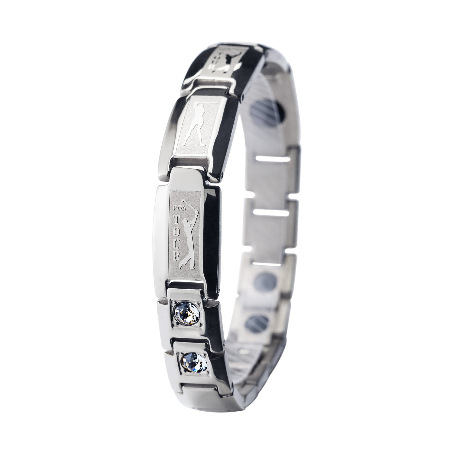 PGA Tour Elegant Titanium Magnetic Therapy Bracelet Pain Relief for Arthritis and Carpal Tunnel (silver)