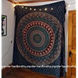 Handicrunch Popular Handicrafts Hippie Mandala Bohemian Psychedelic Intricate Floral Design Indian Bedspread Magical Thinking Tapestry 84x90 Inches,(215x230cms) Blue