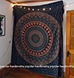 Popular Hippie Mandala Bohemian Psychedelic Intricate Floral Design Indian Bedspread Magical Thinking Tapestry 84×90 Inches,(215x230cms) Blue Picture