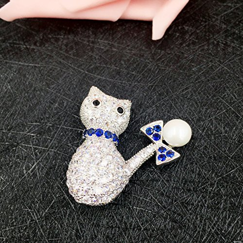 New zircon cute little cat brooch pin animal brooch pin bow brooch pin scarf buckle mother pearl shell