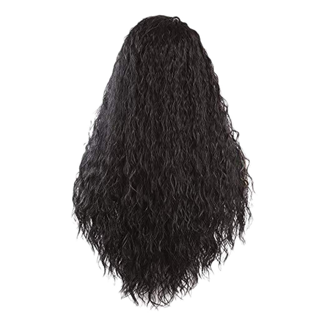 Inkach 26'' Long Wavy Lace Front Wig - Baby Hair - Synthetic Fiber Kinky Curly Wigs for Brazilian Black Women Costume Party Full Wig Natural Looking (Black)