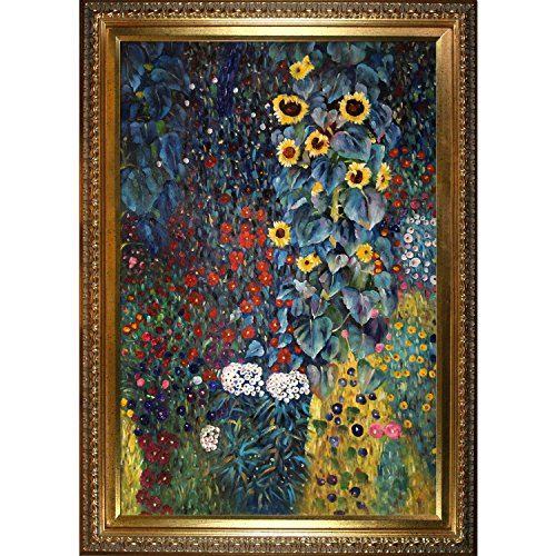 overstockArt Farm Garden with Sunflowers-Framed Oil Reproduction of an Original Painting by Gustav Klimt