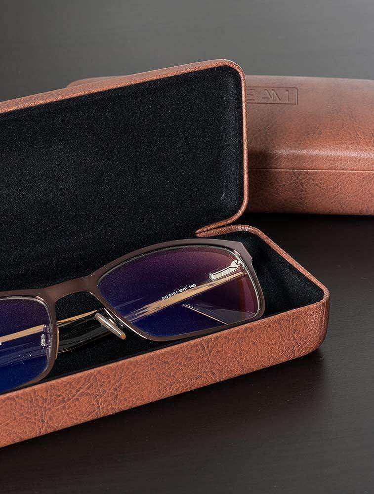 Modell: EyeAm Braun Weicher Bezug Demel Augenoptik Brillenetui f/ür Damen und Herren Elegantes Metalletui in Leder-Optik