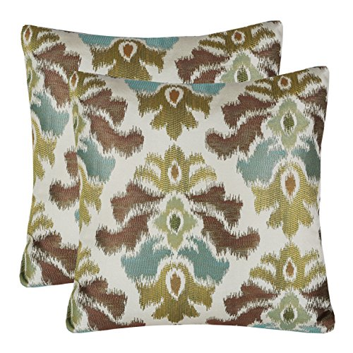 Pack of 2 Simpledecor Accent Pillow Covers Sofa Pillow Cases, 20X20 Inches, Jacquard Vintage Damask Pattern, Brown Cream