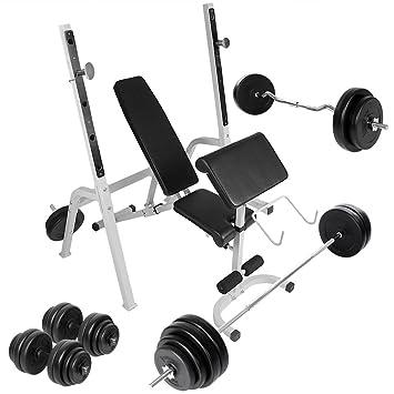 Physionics - Set Banc de Musculation Multifonction avec Barres d Haltères  et Disques Variés adafa6665b1