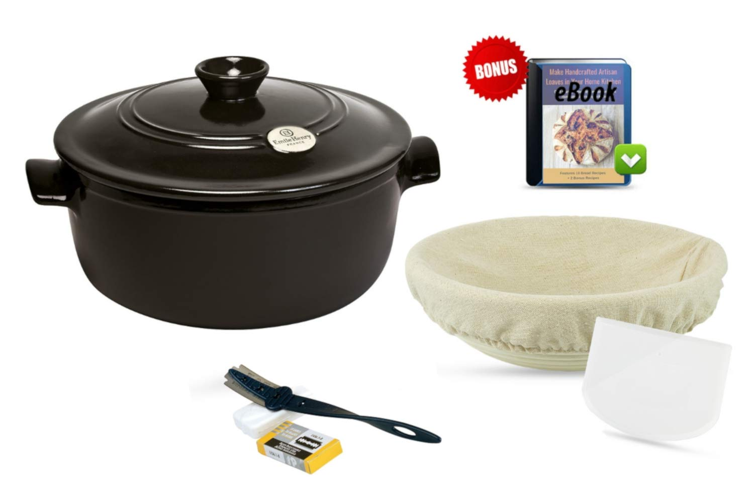 Charcoal Dutch Oven Bread Making Set: Ceramic Round Stewpot Dutch Oven Bread Pot, Charcoal, 9 inch Round Banneton Bread Rising Basket, Cotton Liner, Bread Lame, 10-Pk Dough Blades, Bowl Scraper, eBook