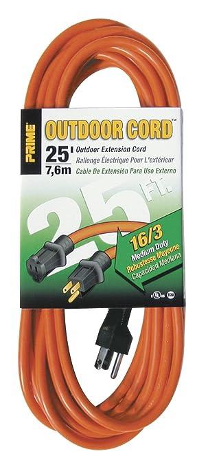 Prime Wire & Cable EC501625 25-Foot 16/3 SJTW Medium Duty Extension ...