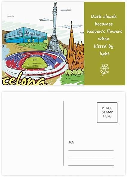 DIYthinker Barcelona, España Monumento acuarela Poesía tarjetas postales establecido Gracias tarjeta de correo lateral 20Pcs 5,7 pulgadas x 3,8 pulgadas Multicolor: Amazon.es: Oficina y papelería