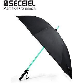 LED Paraguas Linterna Infantil Hombre Mujer, Luz para Arriba Paraguas de Golf con el Cambio