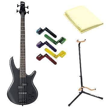 Ibanez gsr200b eléctrico de 4 cuerdas Bass guitarra en negro con gamuza de limpieza, soporte