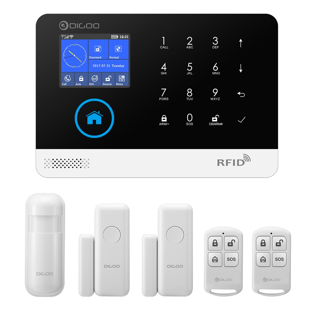 DIGOO Wireless 2G Home and Business Security Alarm System, with Auto Dial and APP Control Function, Come with PIR Detector, Door Window Sensor, and ...
