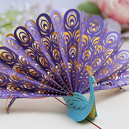 3D pop-up Peacock Greeting Cards Wedding & Baby Shower Greeting Card (96) by Cute rabbit