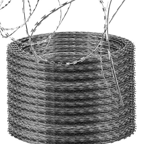(LOVSHARE 10 Rolls Razor Wire Each Coils 50 FT Ribbon Barbed 18