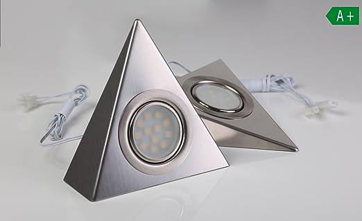 LED Unterbeleuchtung 2 Set Küchenbeleuchtung Küche Dreieck Edelstahl ...