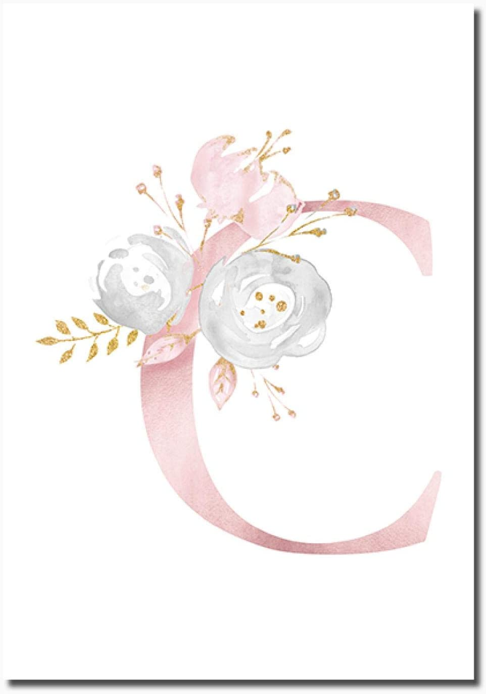 Rumlly Nursery Wall Art Prints Pink Flowers Letters C Canvas Poster Print Modern Painting Wall Pictures Nordic Girl Kids Bedroom Decor-40x60cm No Frame