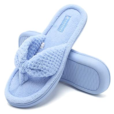 ed9c89a19 Fantiny Women s Cozy Memory Foam Spa Thong Flip Flops House Indoor Slippers Plush  Gridding Velvet Lining
