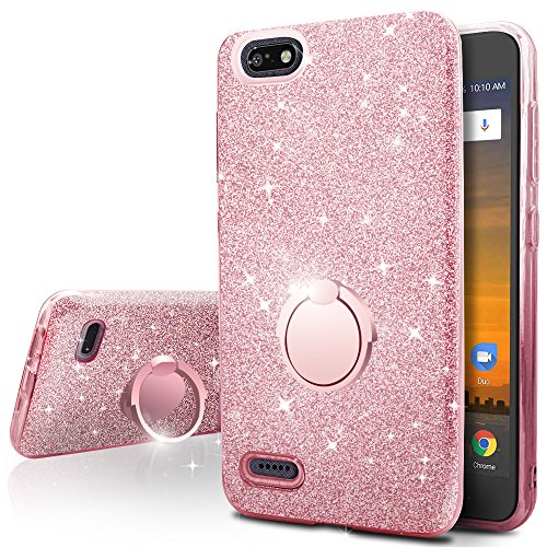 ZTE Blade Vantage Case,ZTE Tempo X Case,ZTE Avid 4 Case,Silverback Girls Bling Glitter Sparkle Case with Ring Stand, Soft TPU Outer Cover + Hard PC Inner Shell for ZTE Tempo X N9137 -Rose Gold