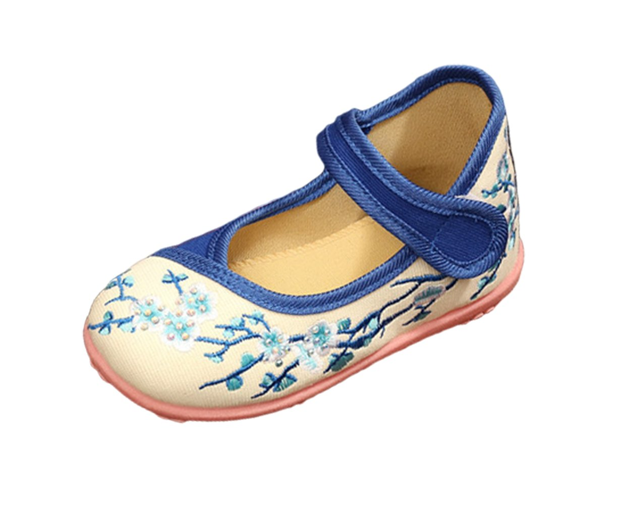 AvaCostume Girls Plum Blossom Embroidery Soft Sole Mary Jane Dancing Shoes, Blue 31