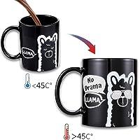 Onebttl Tazza da caffè Divertente 'No Drama Llama' Tazza da caffè Sensibile al Calore per Te e per i Tuoi Cari. Tazza Magica Cambia Colore 11 oz/ 300ml, Bonus Llama Habit Tracker!