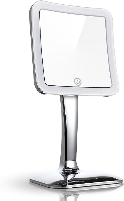 Miusco - Espejo de 7 aumentos para maquillaje, sobre mesa, activación táctil, 13 cm, cuadrado, cromado: Amazon.es: Belleza