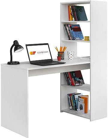 COMIFORT Escritorio con Estanteria Reversible, Mesa de Ordenador, 120x52x72/144 cm