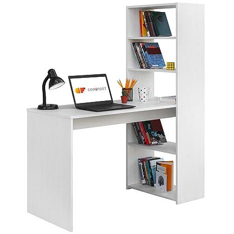 COMIFORT Escritorio con Estanteria Reversible, Mesa de Ordenador, 120x52x72/144 cm (Nordic)