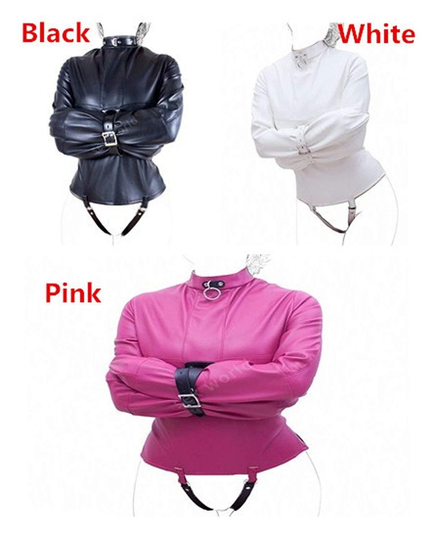 Pu Leather Straitjacket Women Adult Couple Games Straight Jacket Adjustable Fetish Harness Body Bondage Sexee Toys L/XL,Pink L XSJAI SHIRT