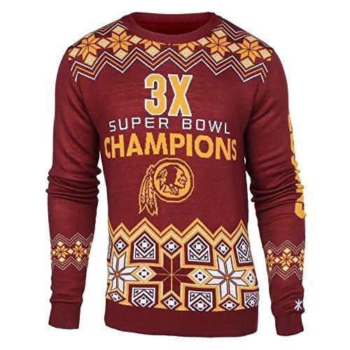 (Klew NFL Football Super Bowl Commemorative Crew Neck Sweater - Pick Team (Washington Redskins, Medium))