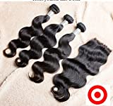 DaJun Hair 7A Free Part Cheap Hair Bundles With Lace Closures Cambodian Virgin Remy Human Hair Body Wave Natural Color 8''closure+12''16''16''weft