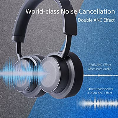 Avantree Hi-Performance 37dB Bluetooth Active Noise Cancelling Headphones with Ambient Sound Amplify, aptX Low Latency Wireless Stereo ANC Over Ear Headset, Smart Sensor & Touch Control - ANC041