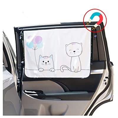 ggomaART Car Side Window Sun Shade - Universal Reversible Magnetic Curtain for Baby and Kids with Sun Protection Block Damage from Direct Bright Sunlight, Heat, and UV Rays - 1 Piece of Cat: Automotive