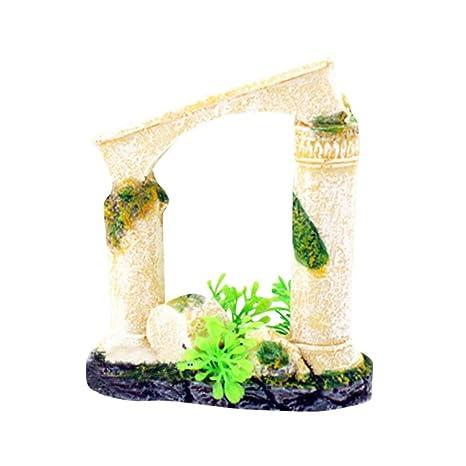 Hunpta - Figura decorativa para acuario, diseño de ruinas del templo romano, para acuario
