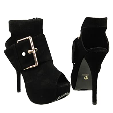 Amazon.com | Womens Ankle Boots Suede Gold Buckle Peep Toe High