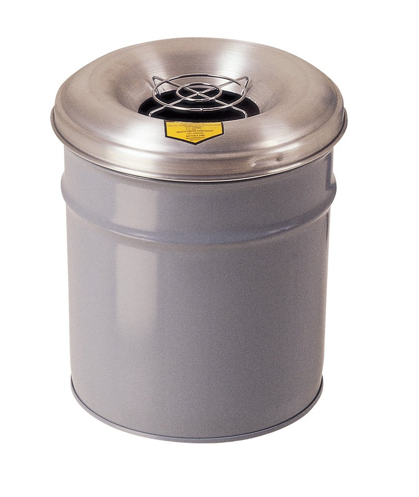 Justrite 26626G Cease-Fire Ash and Butt Receptacle with Aluminum Head and Grill Guard, 6 Gallon Capacity, 12-1/8'' OD x 17-3/4'' Height, Gray