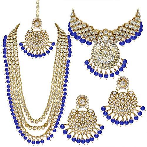 I Jewels Traditional Gold Plated Kundan Pearl Wedding Choker Necklace Set Earrings & Maang Tikka for Women (IJ325BL)