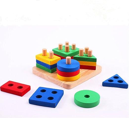 Scrox Creative en bois Classification g/éom/étrique des couleurs et des formes Boucle de forme g/éom/étrique Blocs Empiler et trier des jouets /éducatifs pour les enfants de plus de 2 ans Le cadeau parfait pour votre enfant