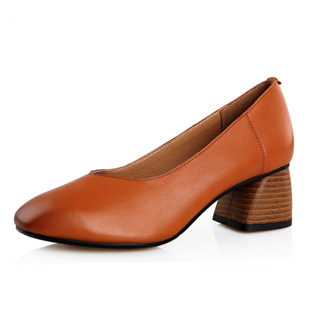 XZGC Retro con Zapatos Gruesos de Cuero Simple Cuadrado Zapatos 40 EU