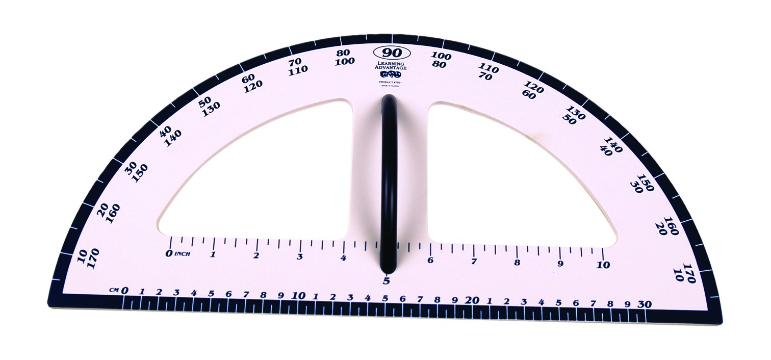 Learning Advantage Dry Erase Magnetic Protractor Whiteboard Measurement Tool