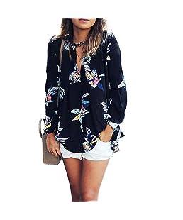 FeiTong Elégant Floral Womens Impression en Vrac à Manches Longues en Mousseline de Soie T-Shirt Hauts de Blouse (S)