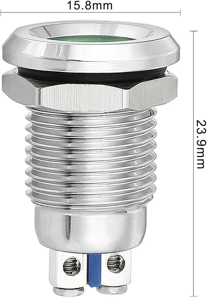 uxcell LED Indicator Light 12V 12mm Green Metal Shell Pilot Custom Dash Signal Lamp Concave Head