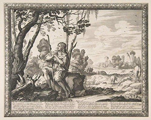 Historic Pictoric Fine Art Print   Abraham Bosse   The Prodigal Son Guarding Pigs (L'Enfant prodigue Garde les cochons)   Vintage Wall Art   20in x 16in