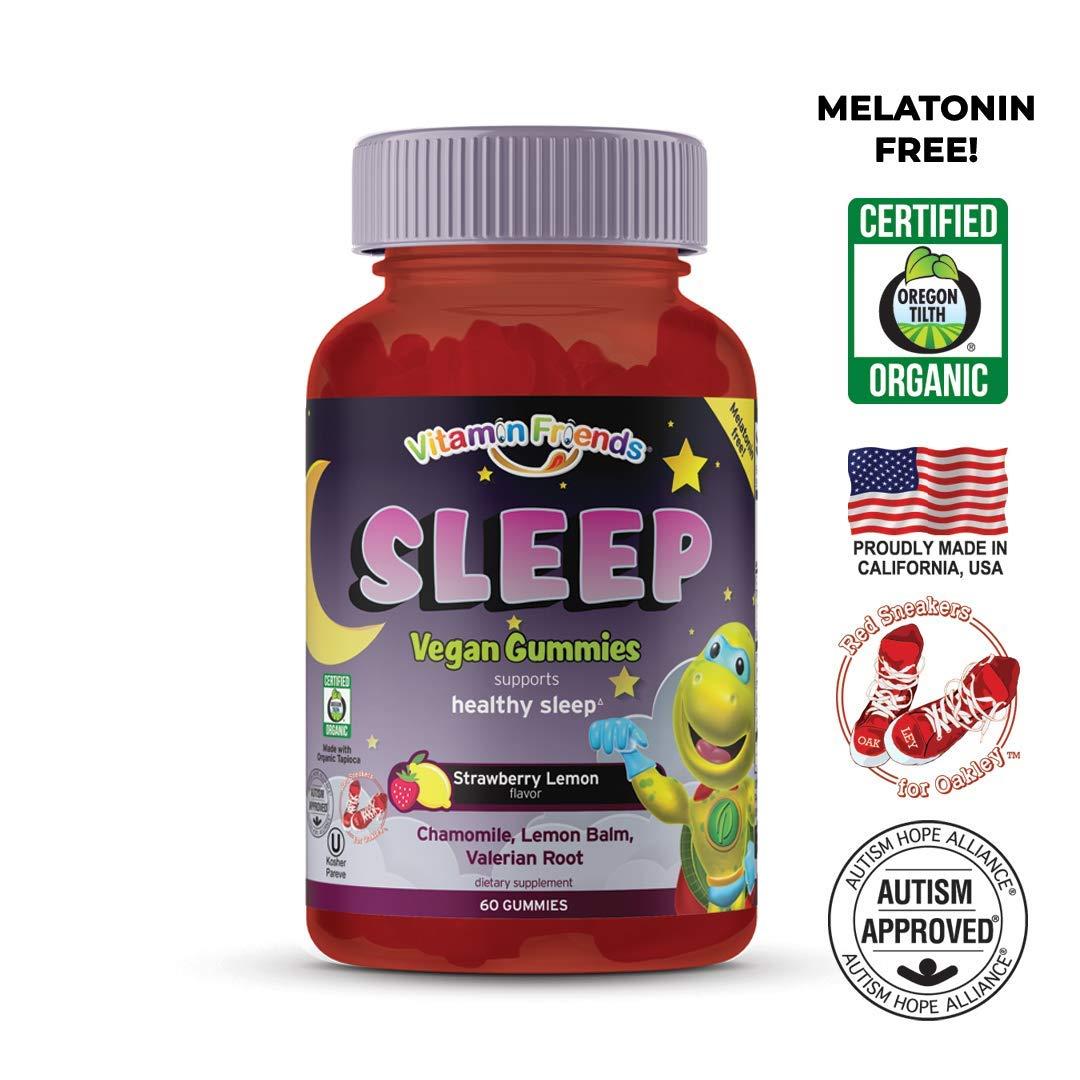 Vitamin Friends - Childrens Sleep Gummy - MELATONIN Free - Chamomile, Lemon Balm, Valerian Root and Vitamin D2 -Natural Strawberry Lemon - 30 Day Supply