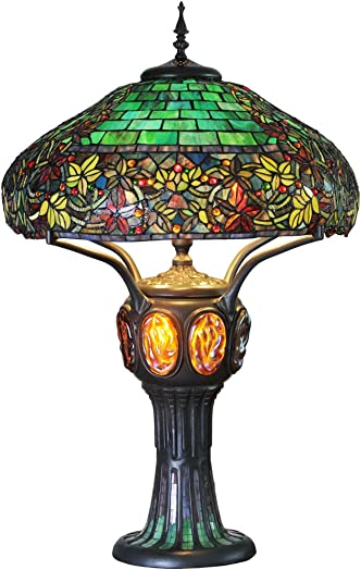 River of Goods Tiffany Style 34 Inch High Stained Glass Turtleback Mosaic Double-Lit Table Lamp, Green