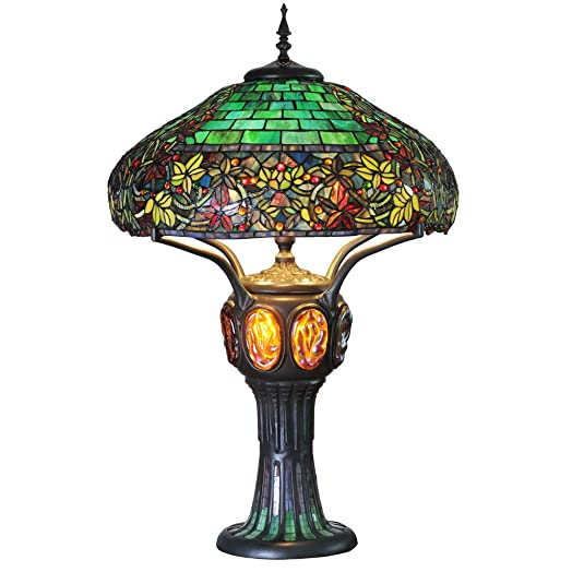 River of Goods Tiffany Style 34.25 Inch High Stained Glass Turtleback Mosaic Double-Lit Table Lamp, Green