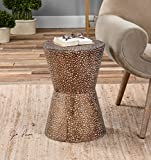 Modern Copper Bronze Drum Table | Pierced Hammered Metal End Round Review